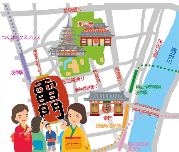 東京浅草周辺イラストマップ