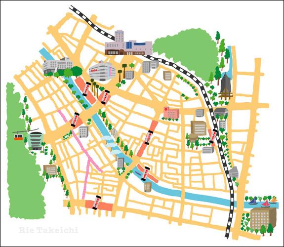 徳島市内のイラストマップ