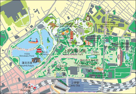 東京上野周辺イラストマップ