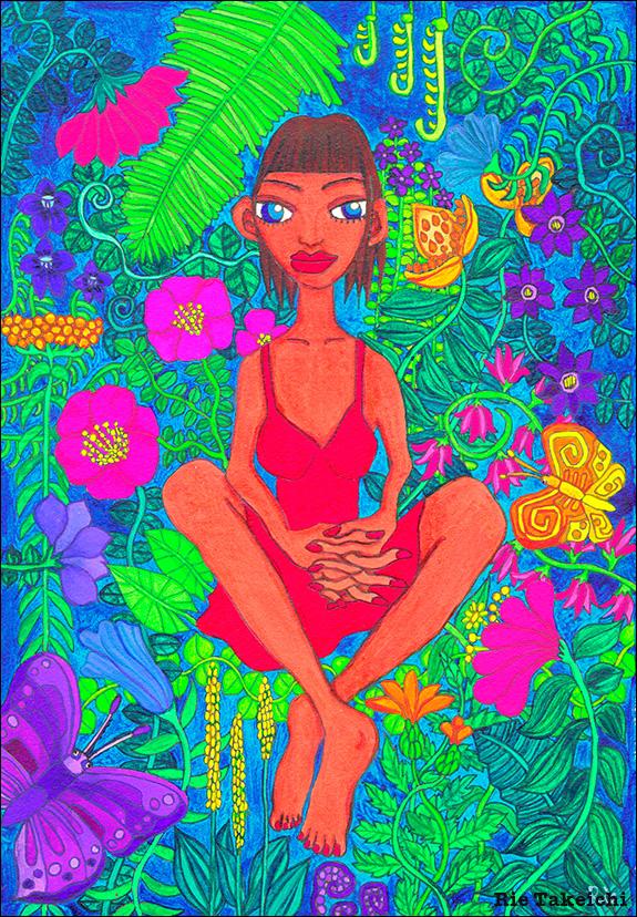 花と葉と蝶と女