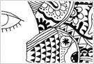 魚と鳥のモノクロイラスト